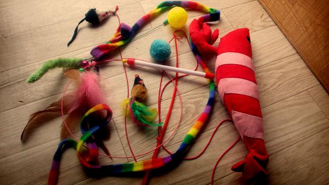 猫 紐付きおもちゃ